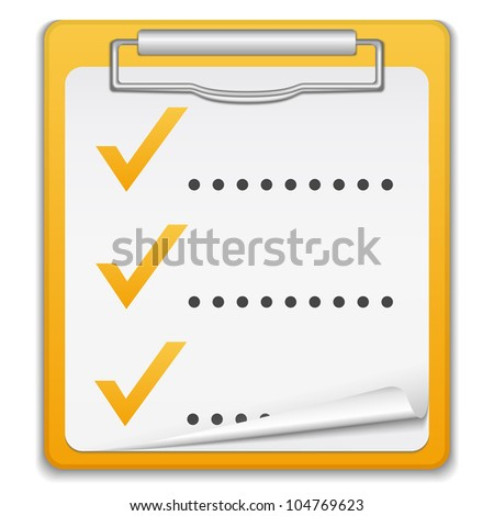 Clipboard with checklist, vector eps10 illustration