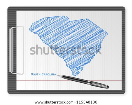 Clipboard with drawing South Carolina map. Vector illustration. - stock vector