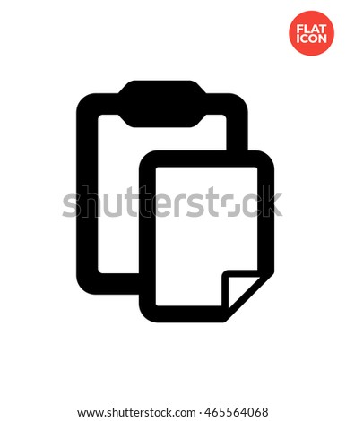 Clipboard with file Icon Flat Style Isolated Vector Illustration