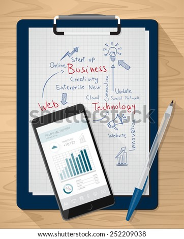Clipboard with handwritten notes and mobile with financial app