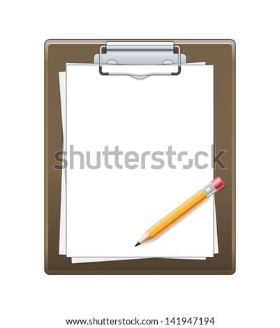 Clipboard with paper and pencil isolated on white background