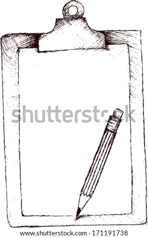 Clipboard with pencil - stock vector