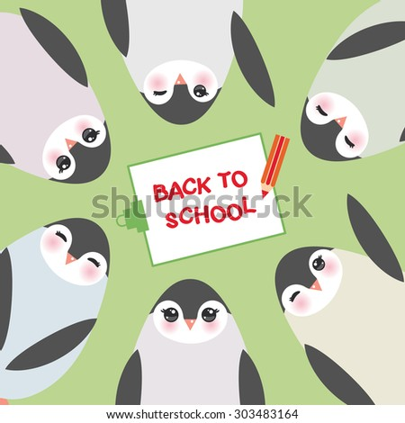 clipboard with pencil, back to school, Funny penguins on green background card template. Vector - stock vector