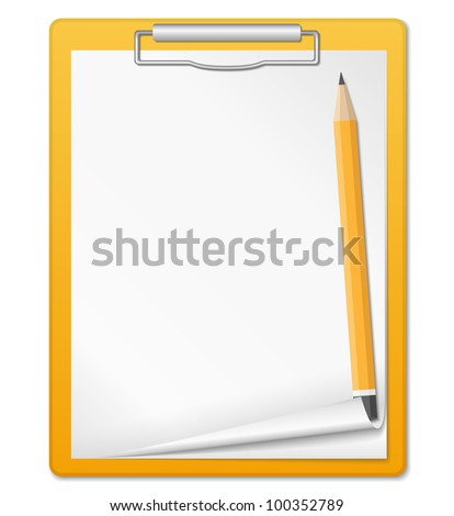 Clipboard with pencil, vector eps10 illustration