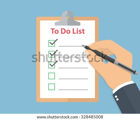 Clipboard with to do list and a hand holding a pencil. Flat style - stock vector