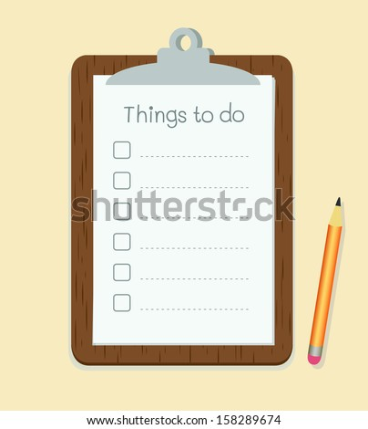 Clipboard with to do list on paper and pencil vector - stock vector