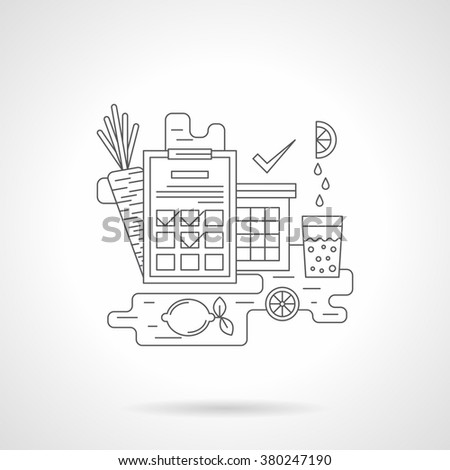 Clipboard with training program table, carrot and lemon juice. Healthy lifestyle. Fitness and sport theme. Single detailed flat line vector icon. Web design elements for business, site, mobile app.  - stock vector