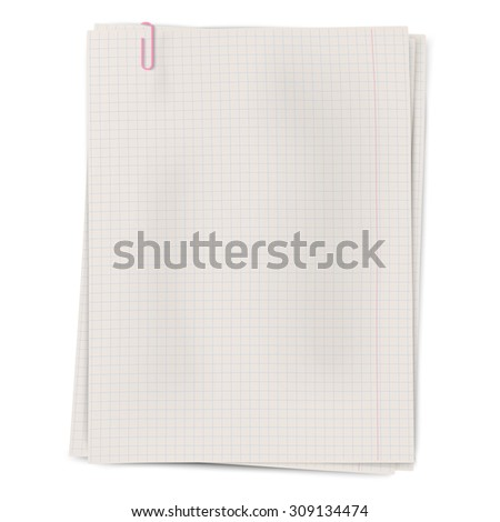 Clipped squared sheets of notebook paper isolated on white background - stock vector