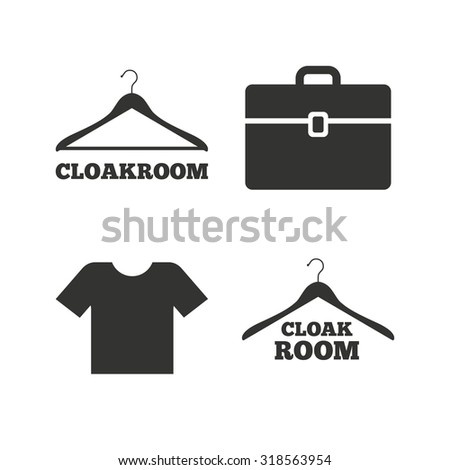 Cloakroom icons. Hanger wardrobe signs. T-shirt clothes and baggage symbols. Flat icons on white. Vector - stock vector