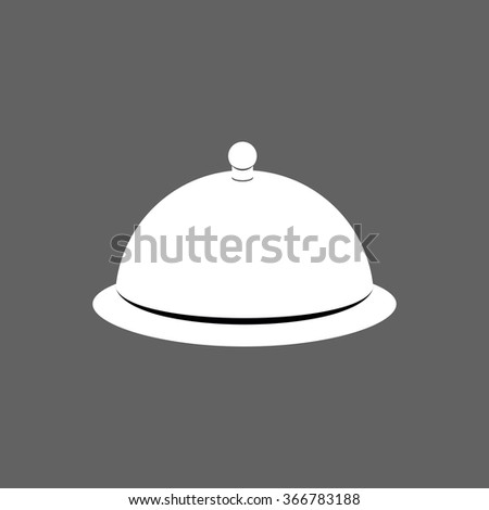 Cloche. Cover for hot dishes. Accessory cooks and cook. Subject of tableware. Iron cover and plate for eating. - stock vector