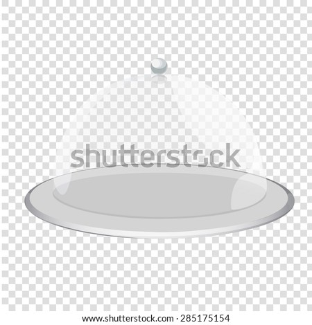 cloche restaurant close with object. Tray on a transparent background - stock vector