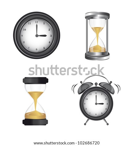 clock alarm and hourglass icons over white background. vector - stock vector