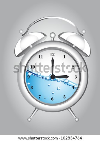 clock alarm with water over gray background. vector illustration - stock vector