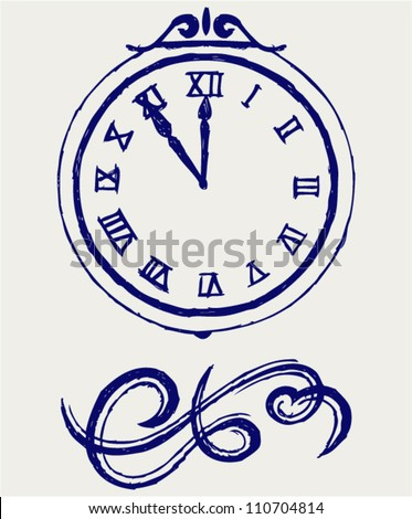 Clock and festive tinsels - stock vector