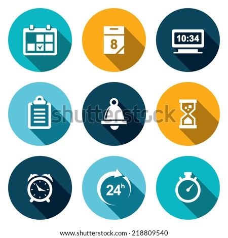 Clock and time flat icons set - stock vector