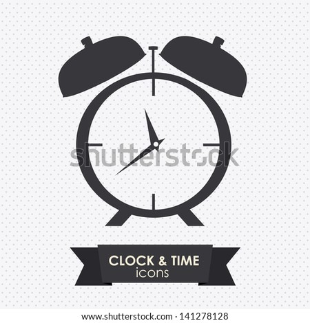clock and time icon over dotted background vector illustration - stock vector