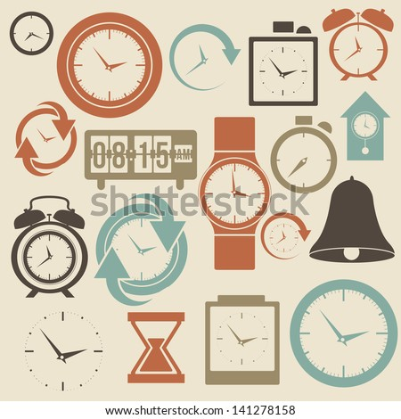 clock and time icons over cream  background vector illustration - stock vector
