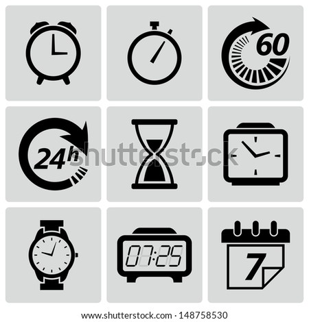 Clock and time icons. Vector illustration - stock vector