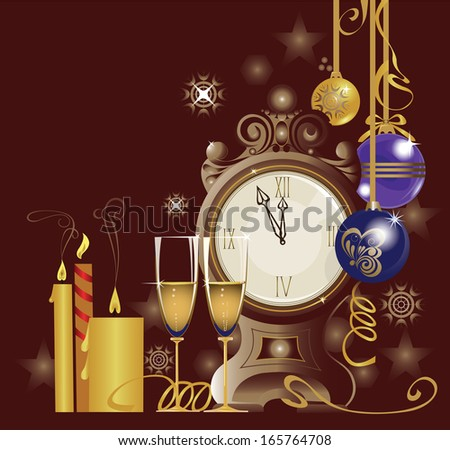 clock and two glasses and  candles on dark background