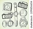 clock and watch doodle - stock vector
