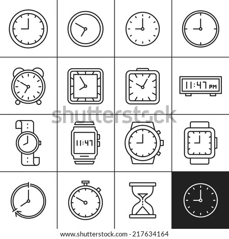 Clock and watch icons. Measuring and displaying time vector illustrations. Simplines series - stock vector