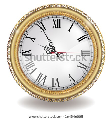Clock antique in gold  frame - stock vector