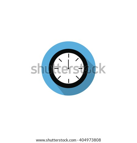 Clock at 12:00 noon or 0:00 midnight flat blue icon with long shadow isolated on white background  - stock vector