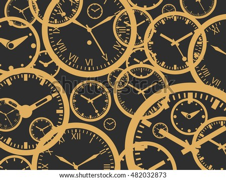 Clock Background - Gold On Black - Outline Vector Illustration. Time theme. Simplified Lines Design.