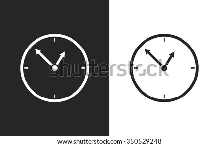 Clock  -  black and white icons. Vector illustration - stock vector