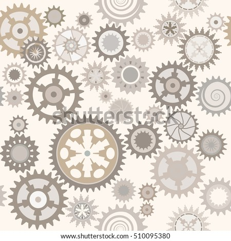 Clock cogwheels. Pale background. Retro texture. Seamless pattern.