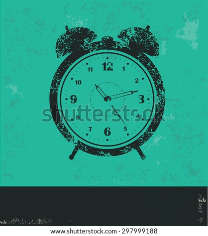 Clock design on green background,grunge vector - stock vector