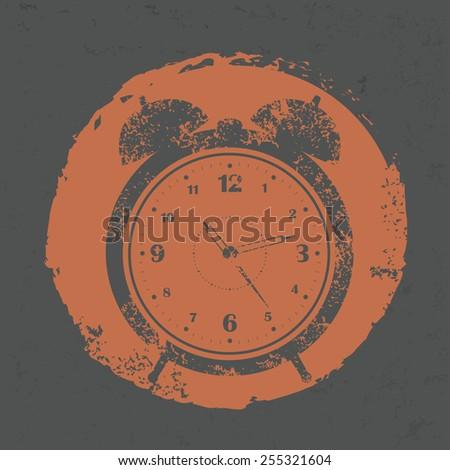 Clock design on grunge background, grunge vector - stock vector