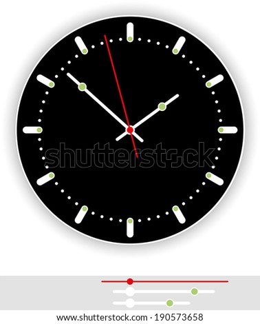 Clock Face Black - Illustration of a modern clock face (dial) with black background as part of an analog clock (watch) with black and red pointers. Isolated vector on white background. - stock vector