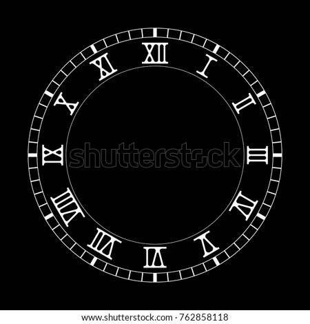 Vintage Roman Numeral Clock Vector Illustration Stock