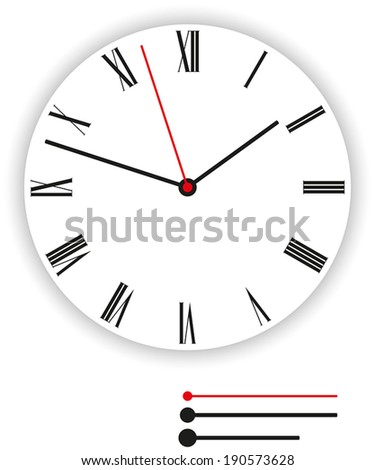 Clock Face Classic - Illustration of a classic clock face (dial) as part of an analog clock (watch) with black and red pointers. Isolated vector on white background. - stock vector