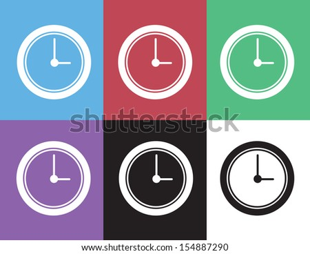 Clock face silhouette in different colors  - stock vector
