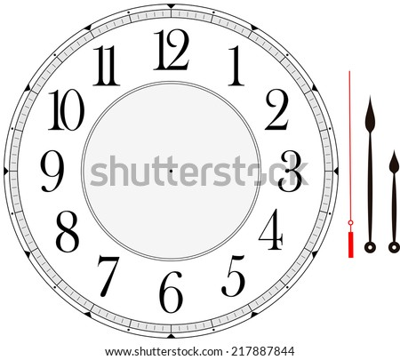 clock face template with hour, minute and second hands to make your own time isolated on white background - stock vector