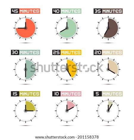 Clock Face Vector Illustration Set - stock vector