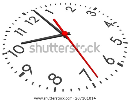 Clock face with figures on isolated white background. Vector illustration. Close-up view