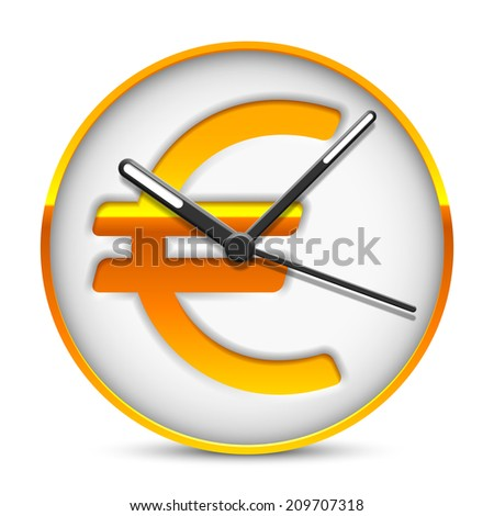 Clock face with golden euro currency sign. - stock vector