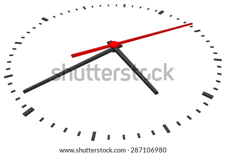 Clock face with red second hand and without numbers on isolated white background. Vector illustration. Close-up view
