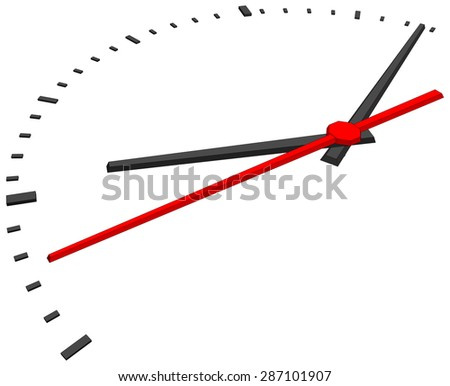 Clock face without numbers on isolated white background. Vector illustration. Side view