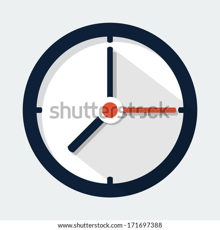 Clock Flat Icon - stock vector
