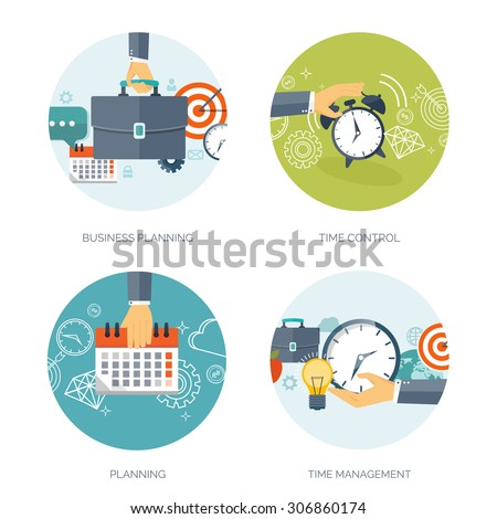 Clock flat icon. World time concept. Business background. Internet marketing. Daily infographic. Calender. Business planning and time management. - stock vector