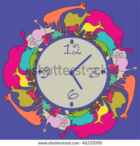 Clock for kids - vector illustration - stock vector