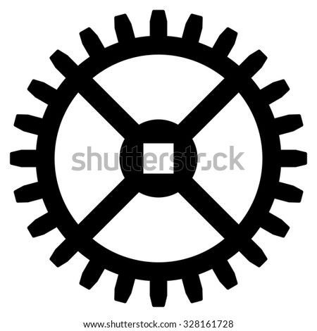 Clock Gear vector icon. Style is flat symbol, black color, rounded angles, white background. - stock vector