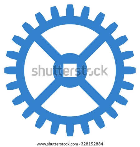 Clock Gear vector icon. Style is flat symbol, cobalt color, rounded angles, white background. - stock vector