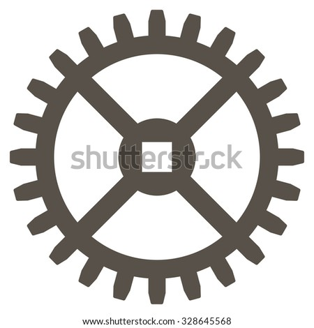 Clock Gear vector icon. Style is flat symbol, grey color, rounded angles, white background. - stock vector