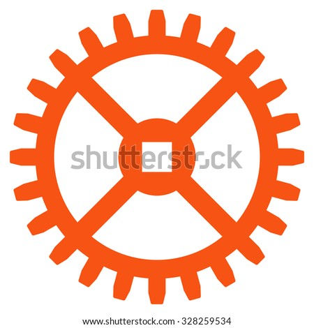 Clock Gear vector icon. Style is flat symbol, orange color, rounded angles, white background. - stock vector