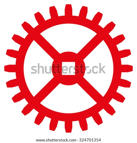 Clock Gear vector icon. Style is flat symbol, red color, rounded angles, white background. - stock vector